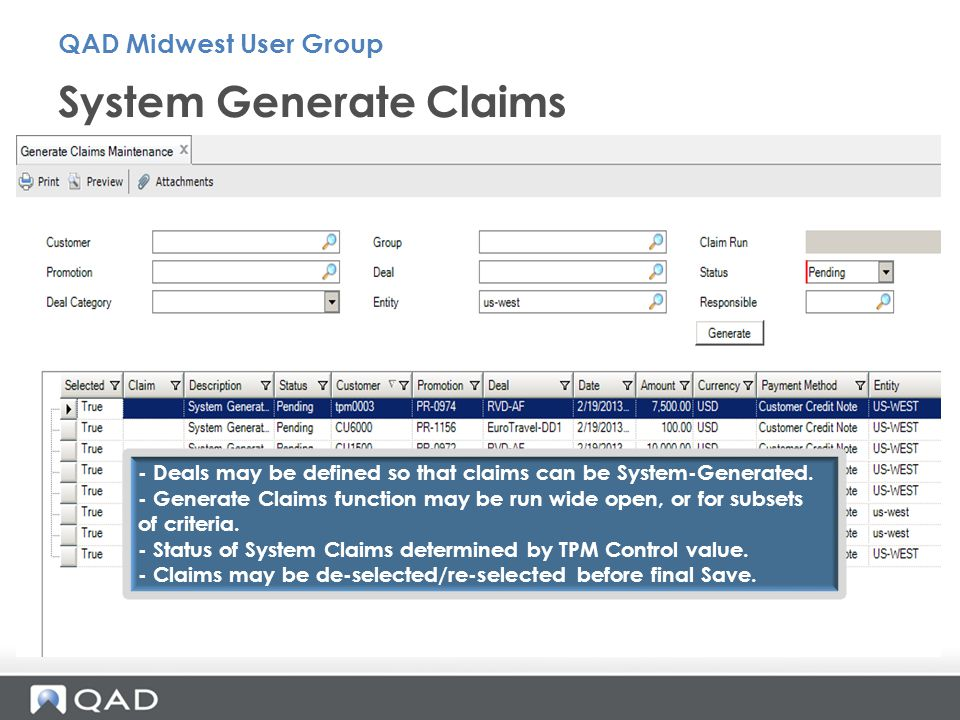System Generate Claims