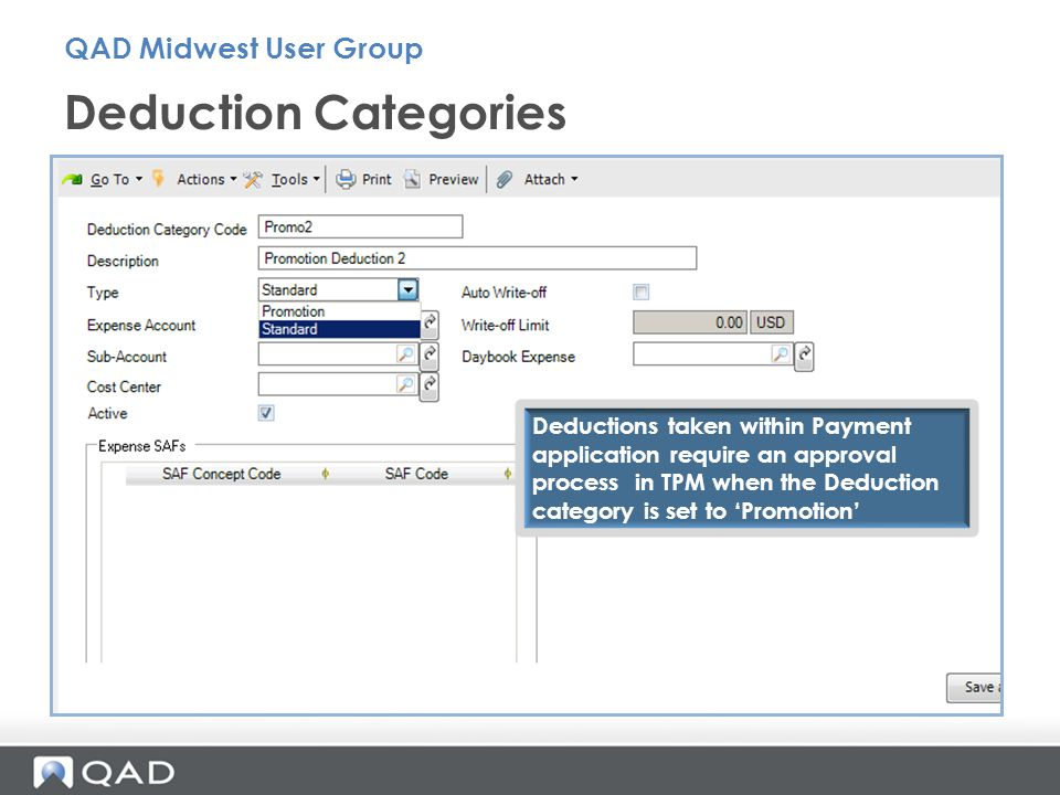 Deduction Categories QAD Midwest User Group