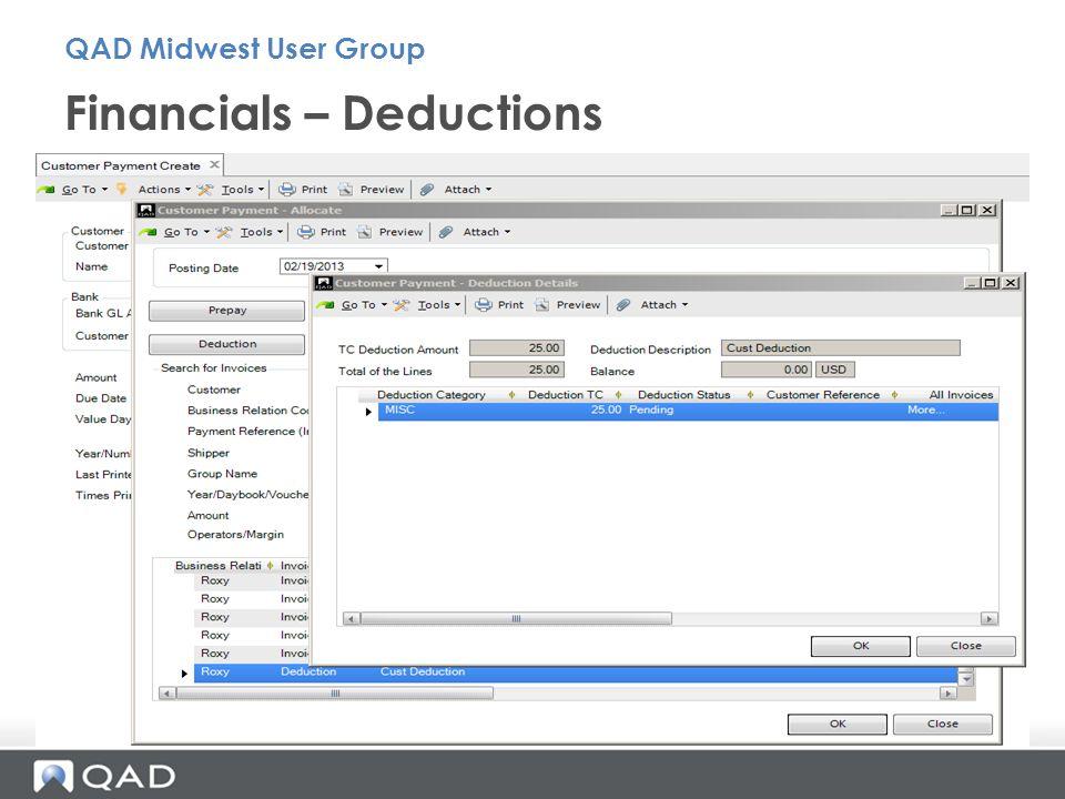 Financials – Deductions