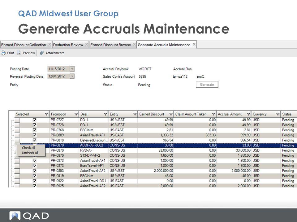 Generate Accruals Maintenance