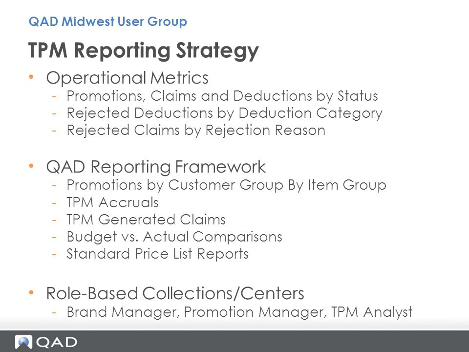 TPM Reporting Strategy
