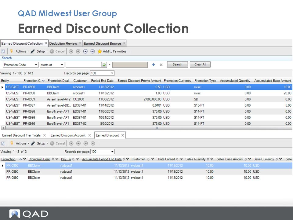 Earned Discount Collection