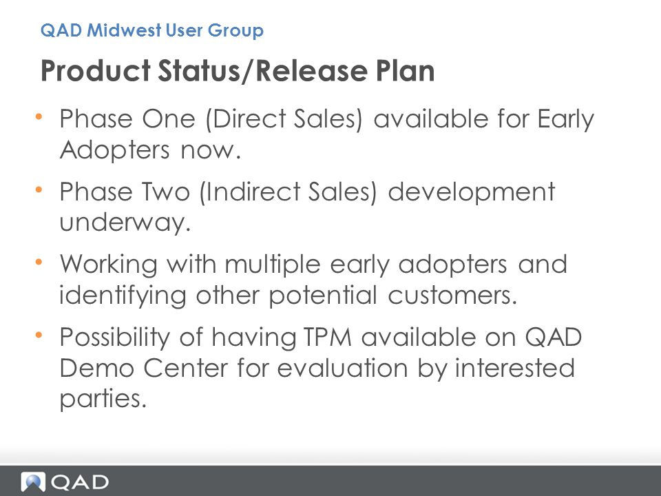 Product Status/Release Plan