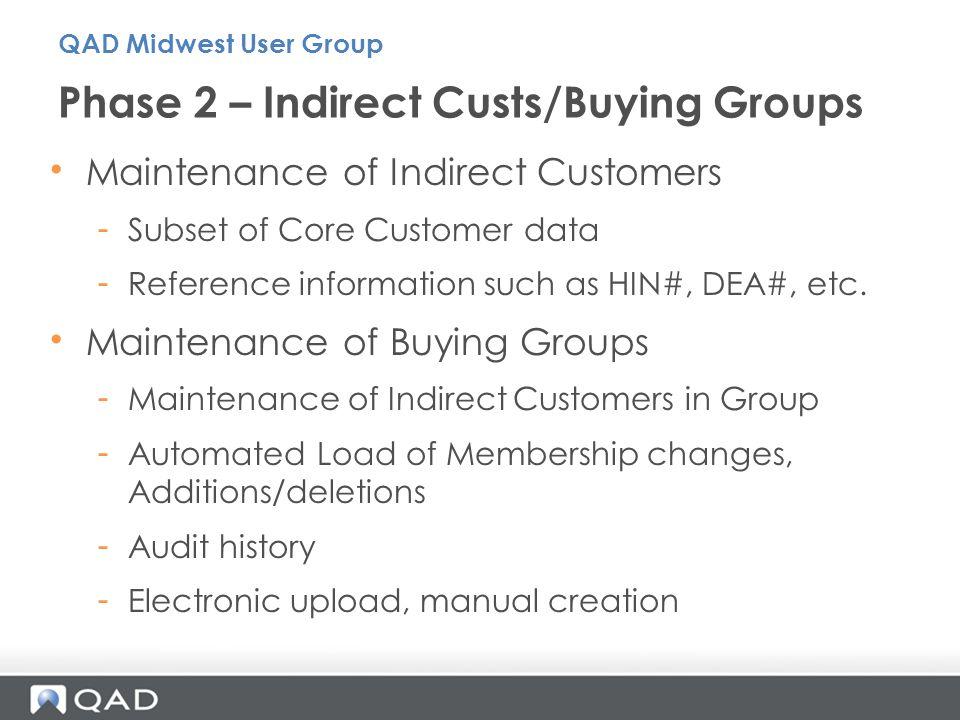 Phase 2 – Indirect Custs/Buying Groups