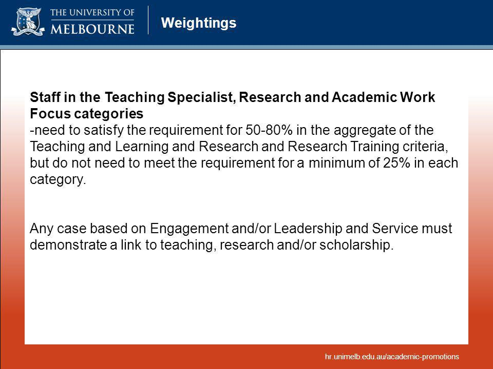 Weightings Staff in the Teaching Specialist, Research and Academic Work Focus categories.