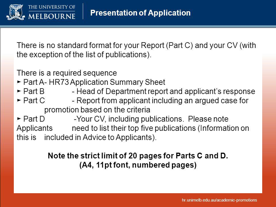 Presentation of Application