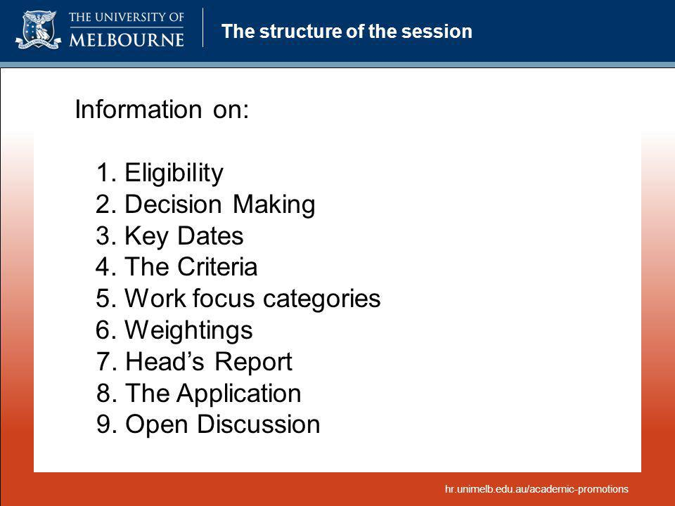 The structure of the session