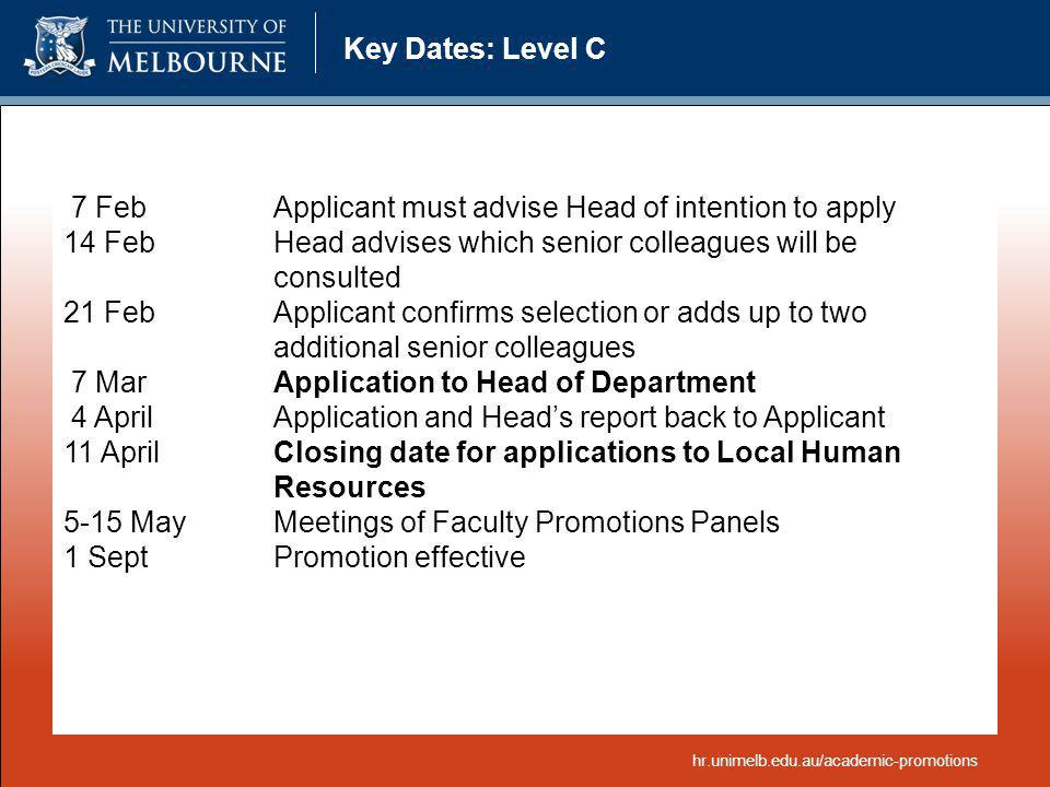 7 Feb Applicant must advise Head of intention to apply