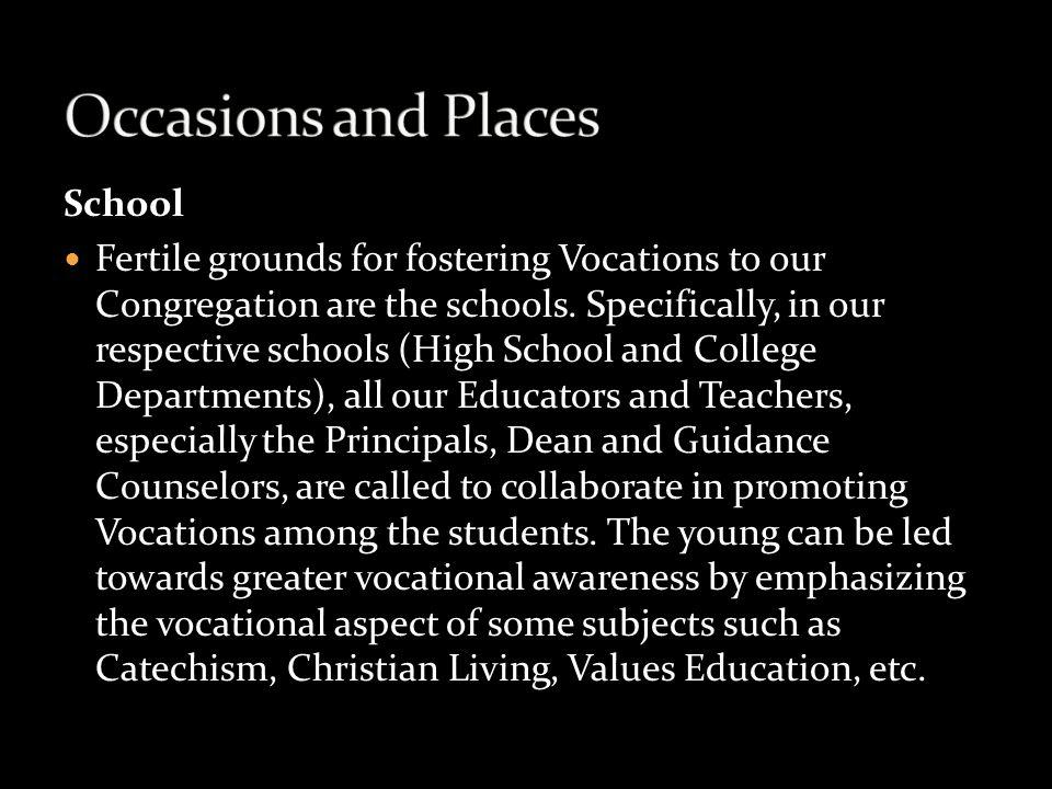 Occasions and Places School