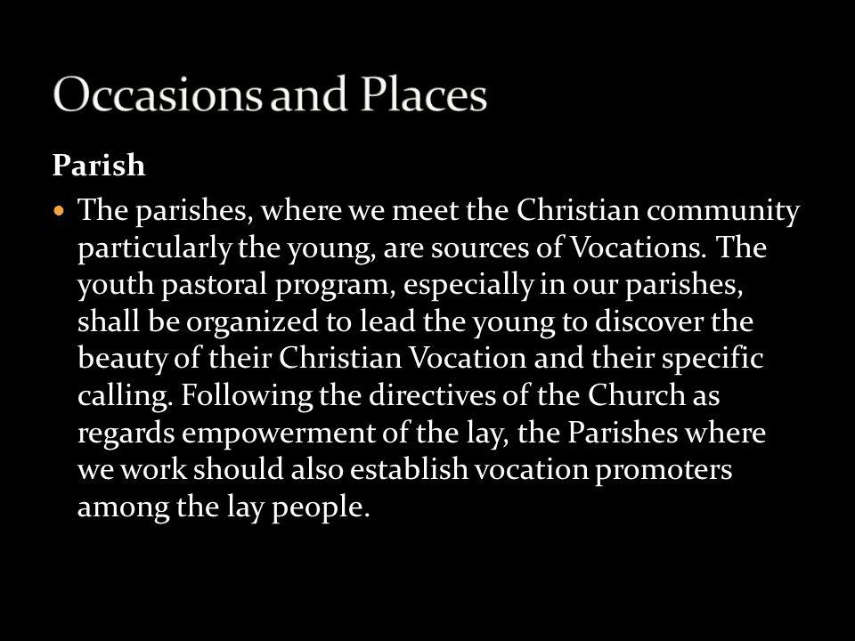 Occasions and Places Parish