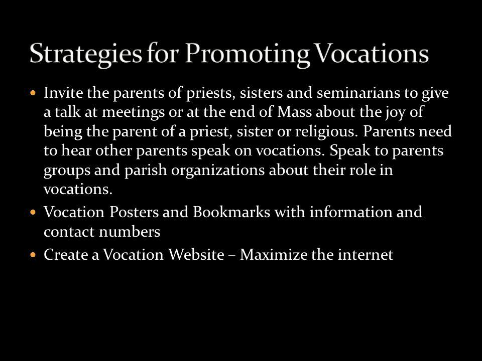 Strategies for Promoting Vocations