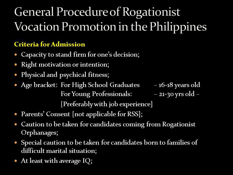General Procedure of Rogationist Vocation Promotion in the Philippines