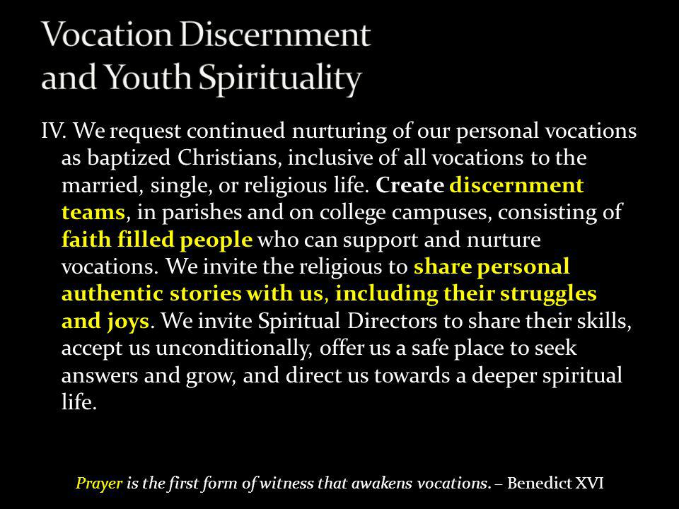 Vocation Discernment and Youth Spirituality