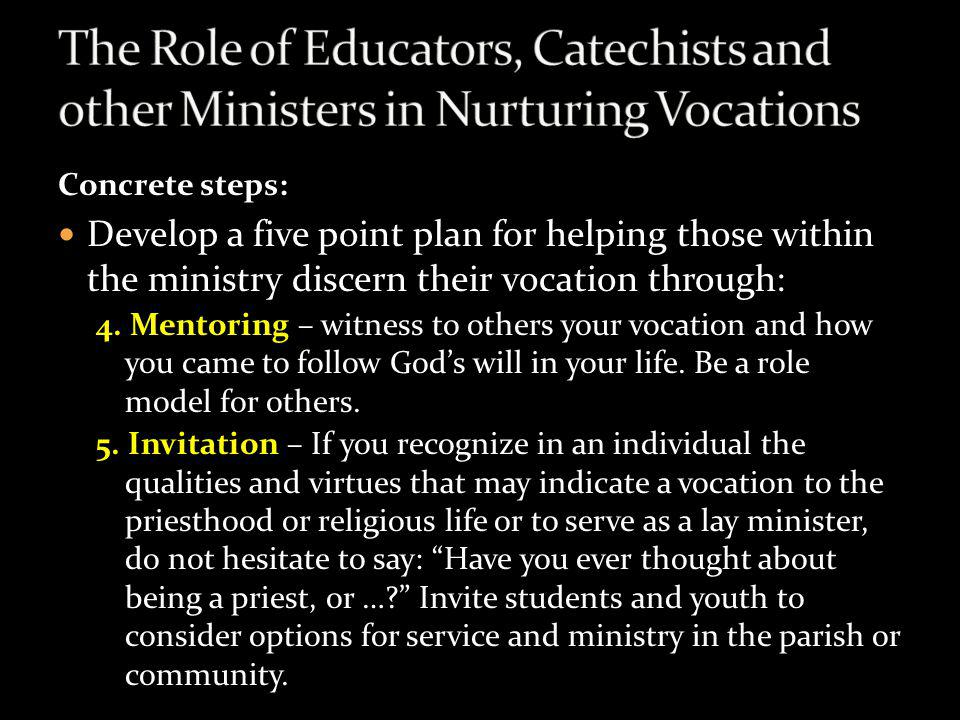 The Role of Educators, Catechists and other Ministers in Nurturing Vocations