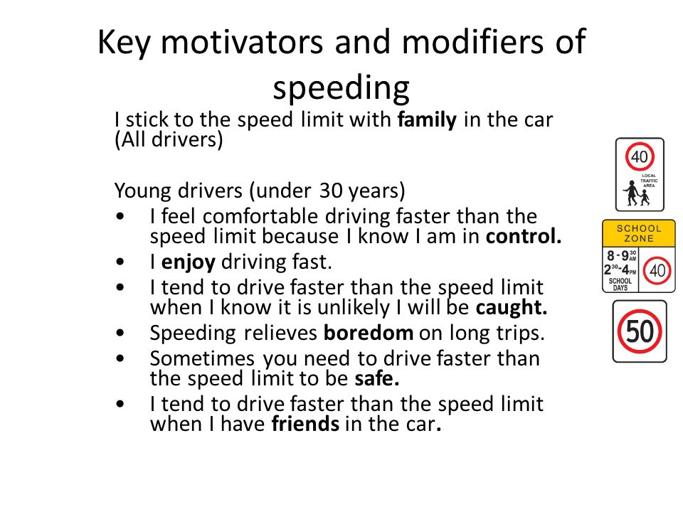 Key motivators and modifiers of speeding