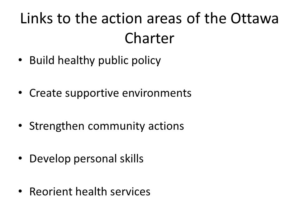 Links to the action areas of the Ottawa Charter