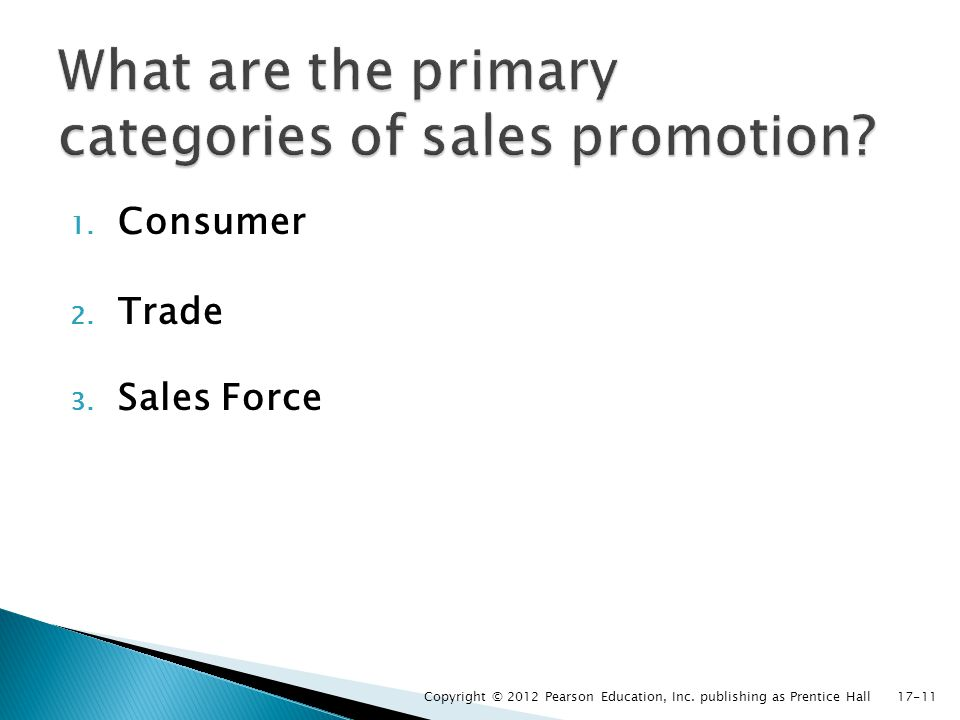What are the primary categories of sales promotion