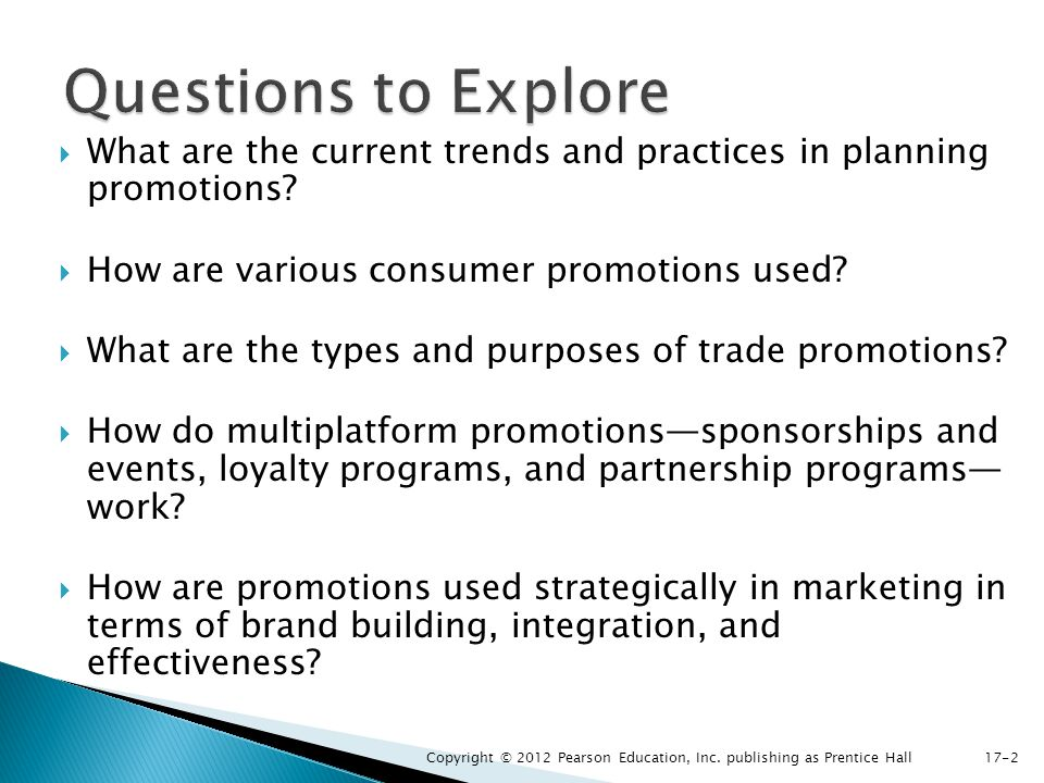 Questions to Explore What are the current trends and practices in planning promotions How are various consumer promotions used