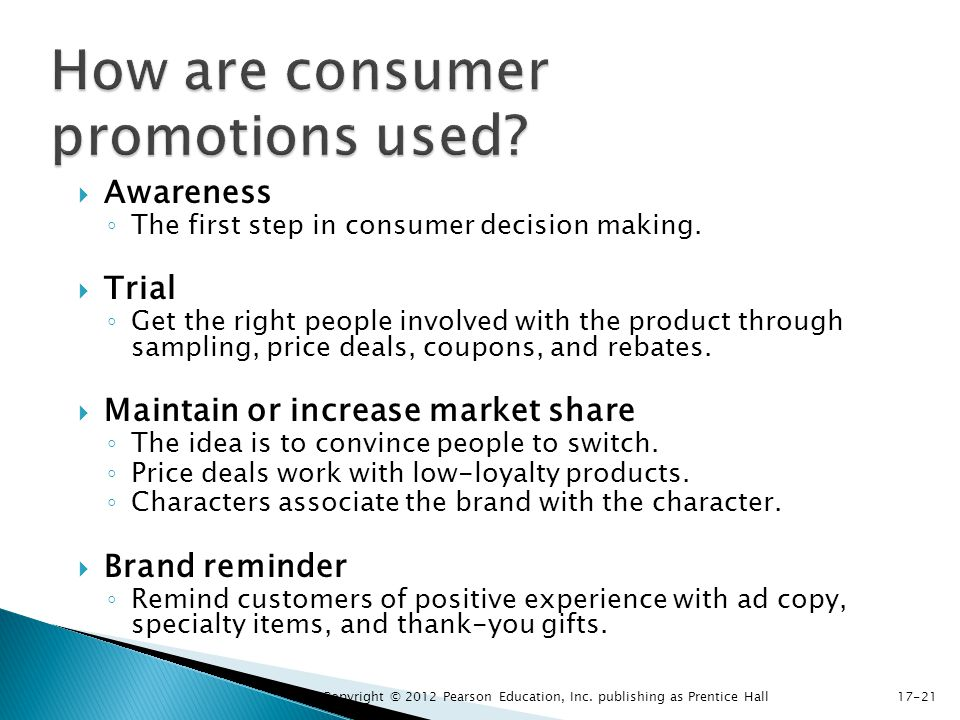 How are consumer promotions used