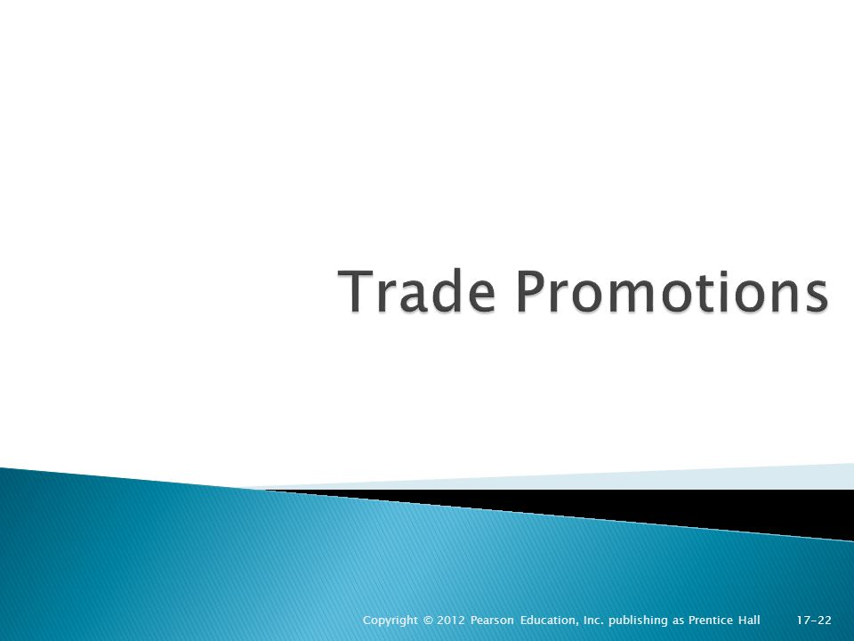 Trade Promotions Copyright © 2012 Pearson Education, Inc. publishing as Prentice Hall