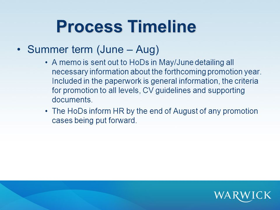 Process Timeline Summer term (June – Aug)