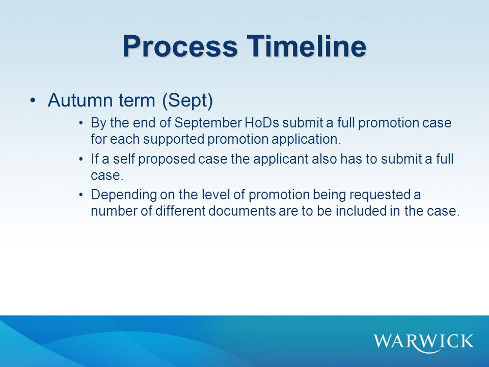 Process Timeline Autumn term (Sept)