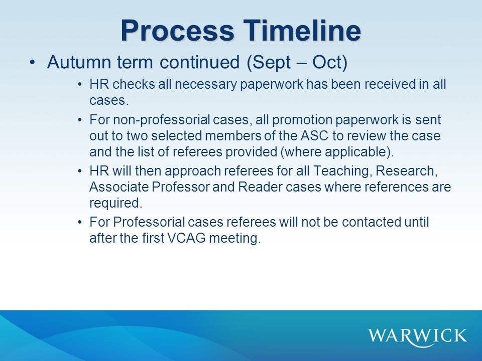 Process Timeline Autumn term continued (Sept – Oct)
