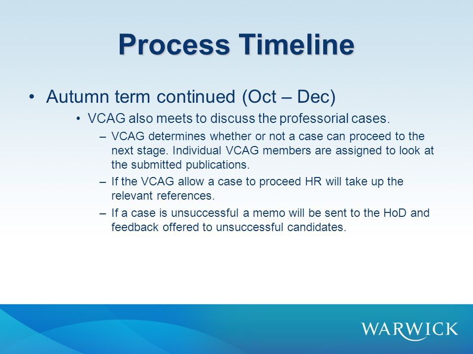 Process Timeline Autumn term continued (Oct – Dec)