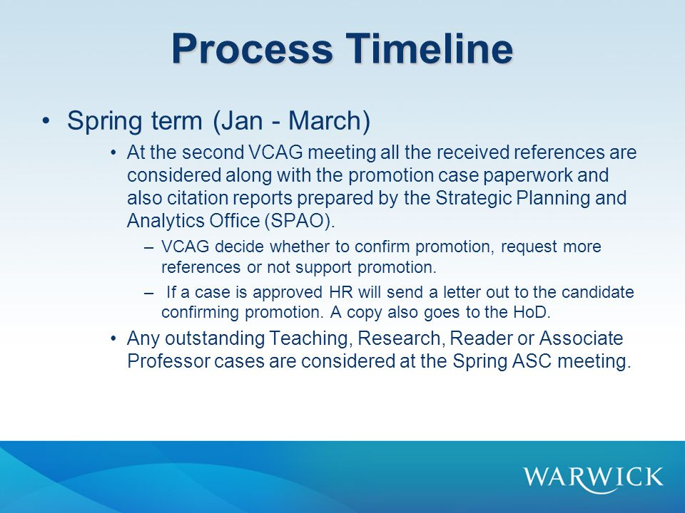 Process Timeline Spring term (Jan - March)