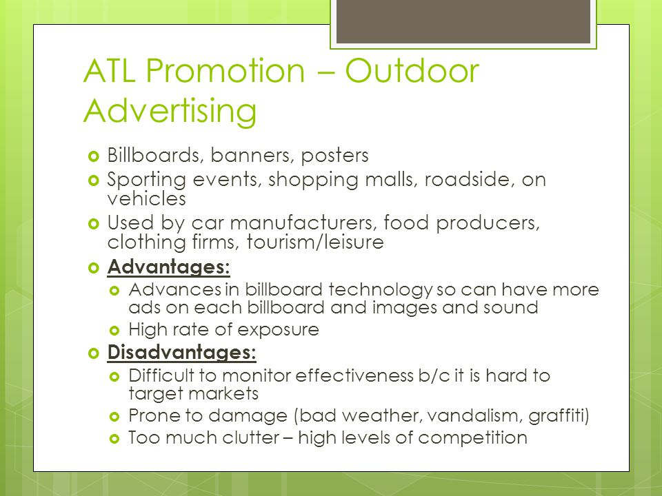 ATL Promotion – Outdoor Advertising