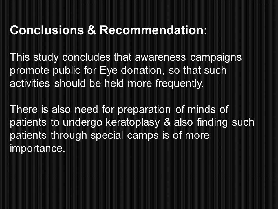 Conclusions & Recommendation:
