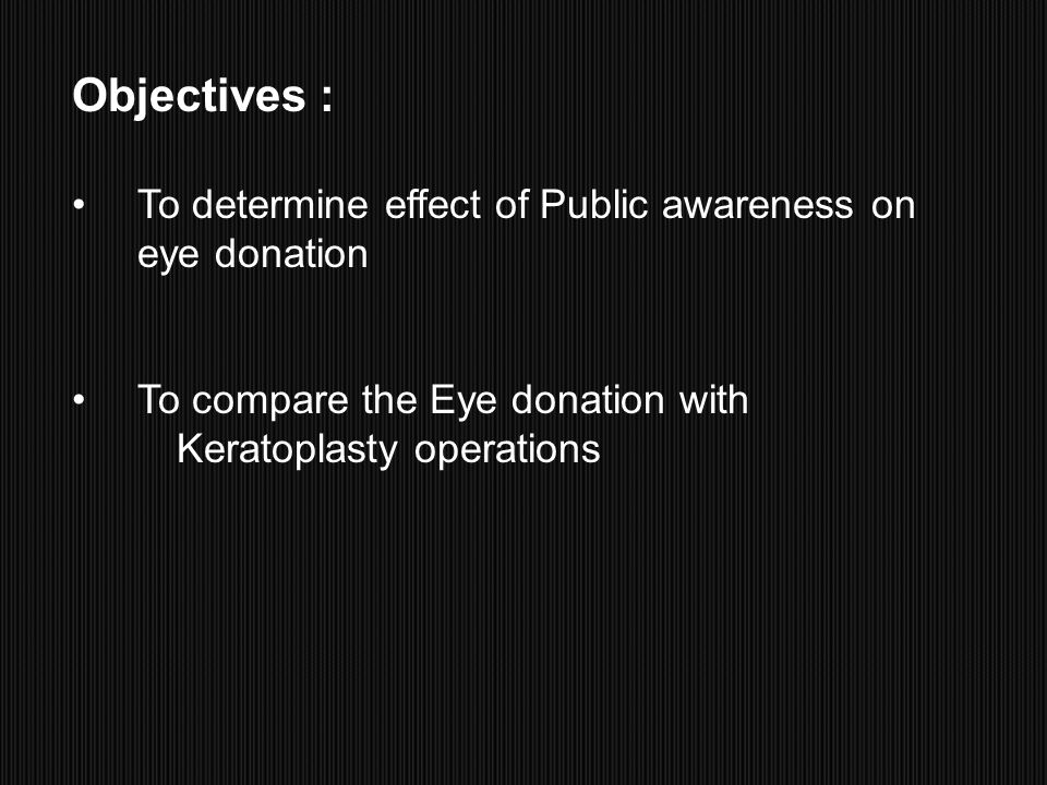 Objectives : To determine effect of Public awareness on eye donation