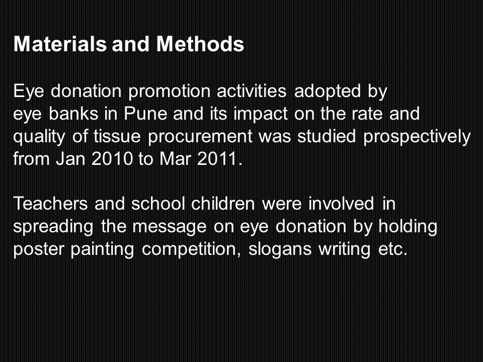 Materials and Methods Eye donation promotion activities adopted by