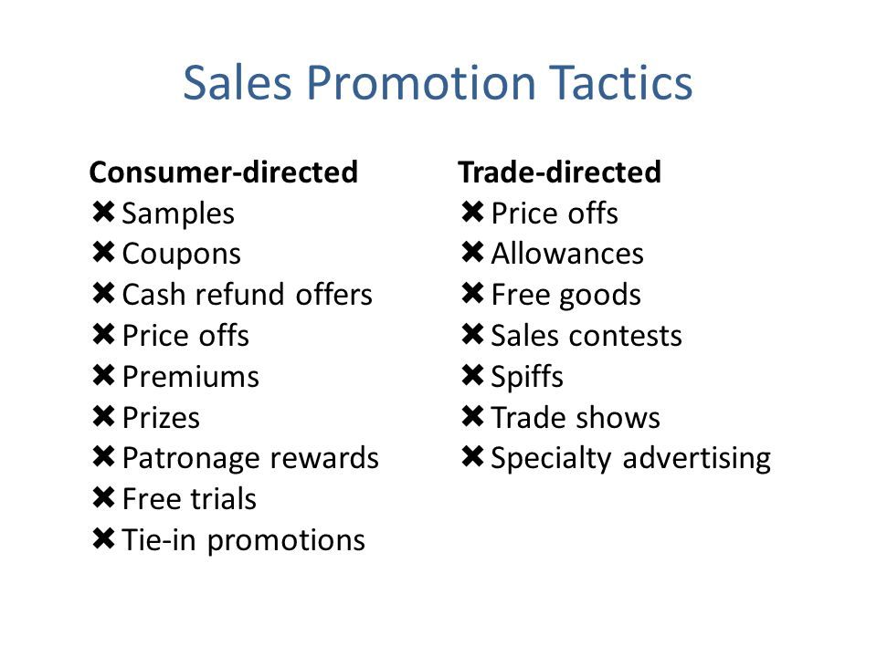 Sales Promotion Tactics