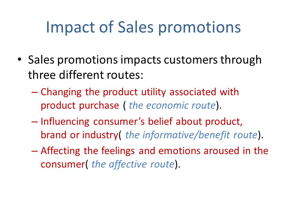 Impact of Sales promotions
