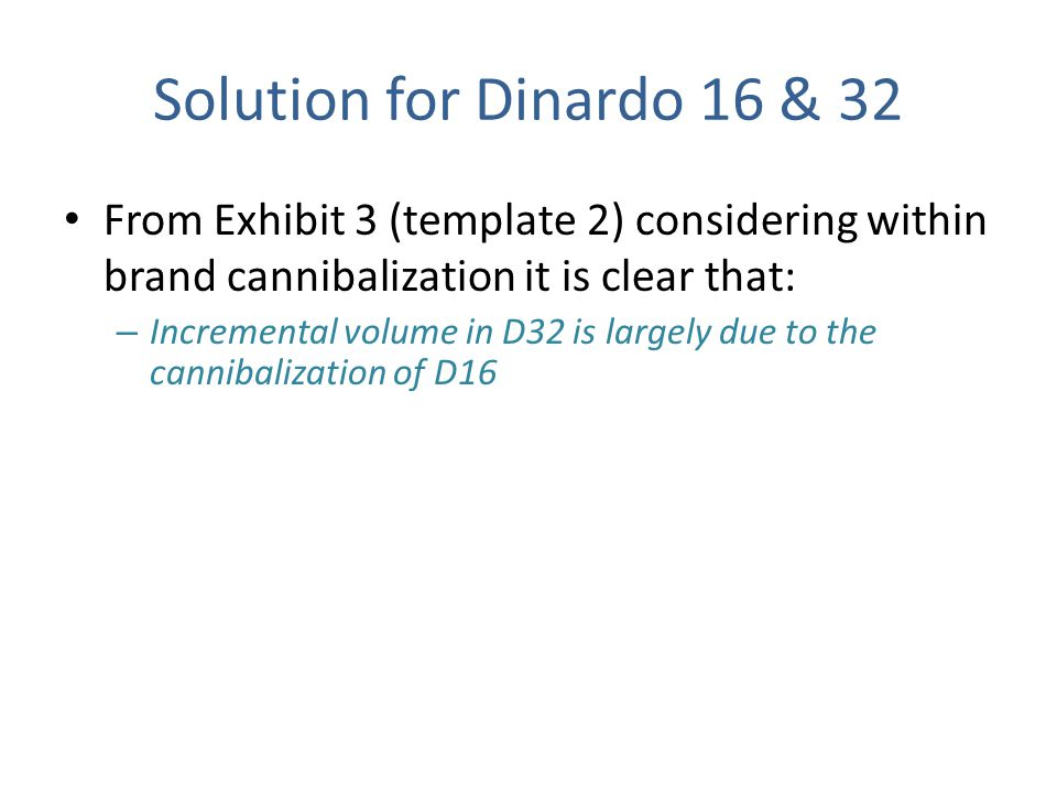 Solution for Dinardo 16 & 32 From Exhibit 3 (template 2) considering within brand cannibalization it is clear that: