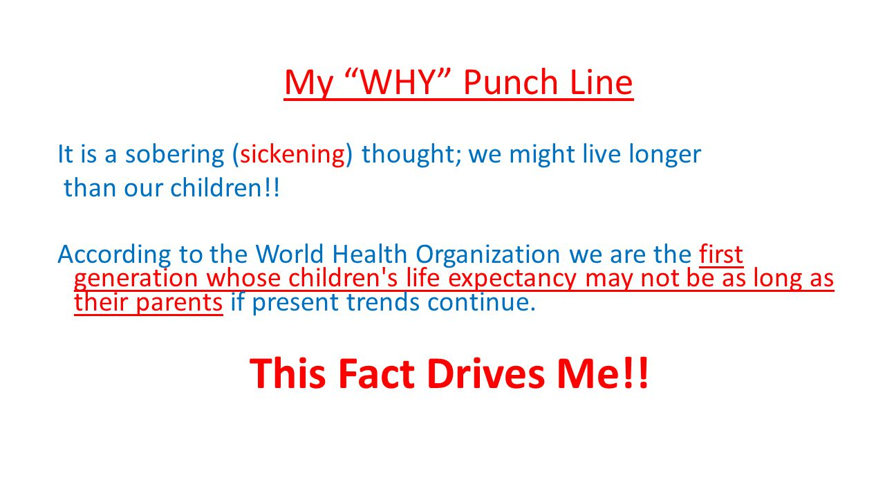 This Fact Drives Me!! My WHY Punch Line