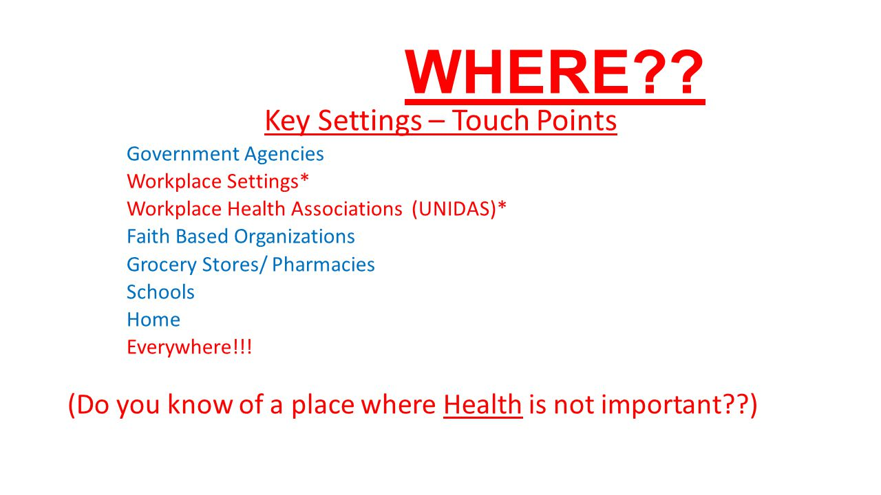 Key Settings – Touch Points