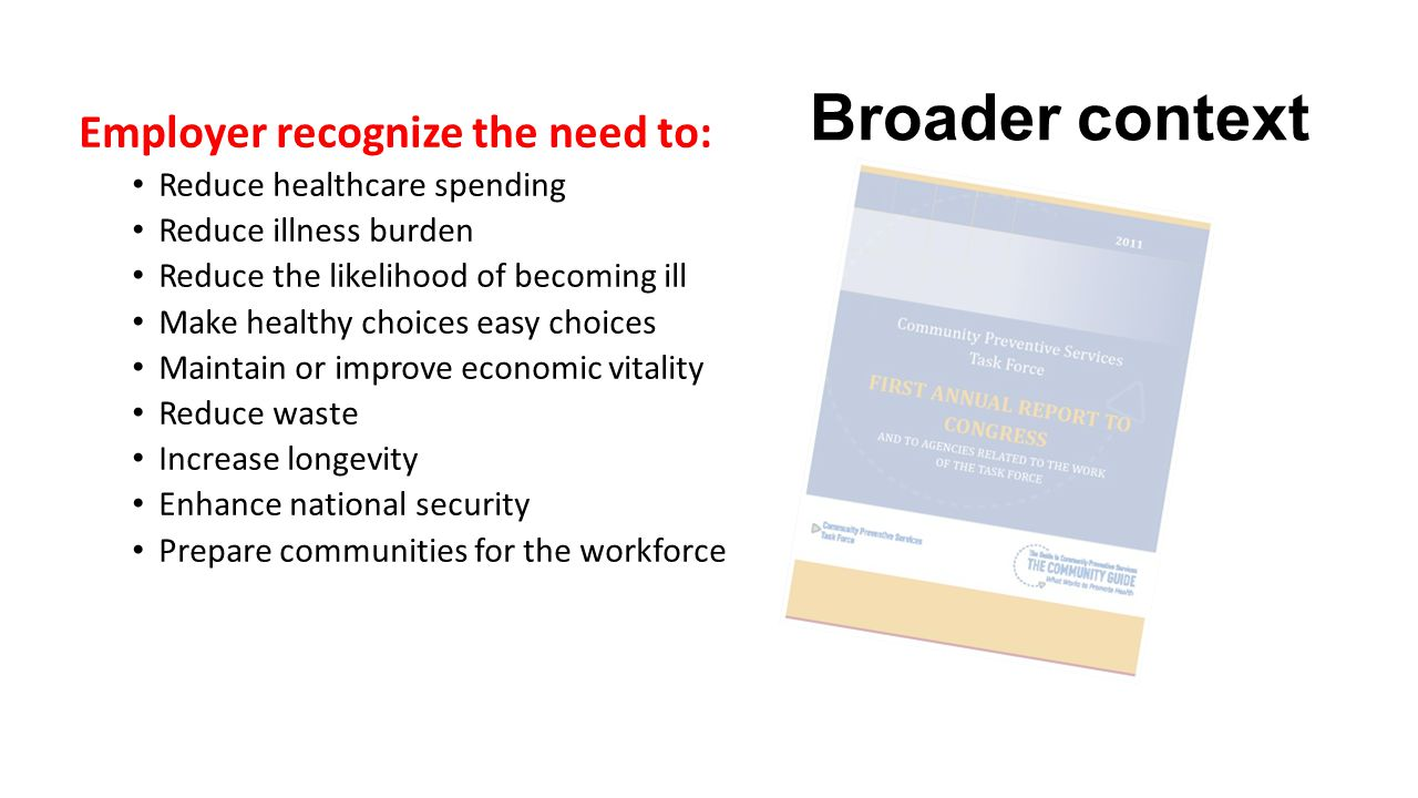 Broader context Employer recognize the need to: