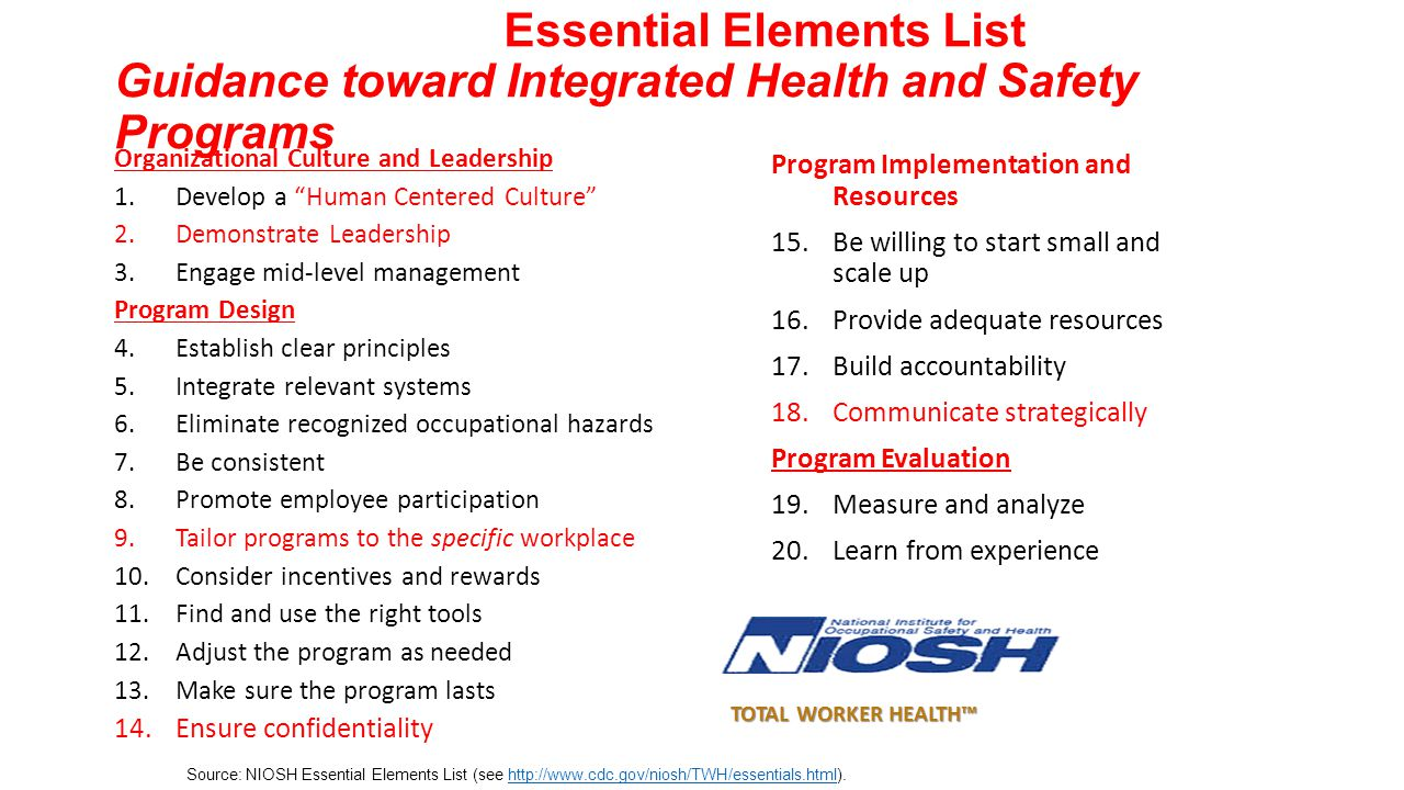 Essential Elements List Guidance toward Integrated Health and Safety Programs