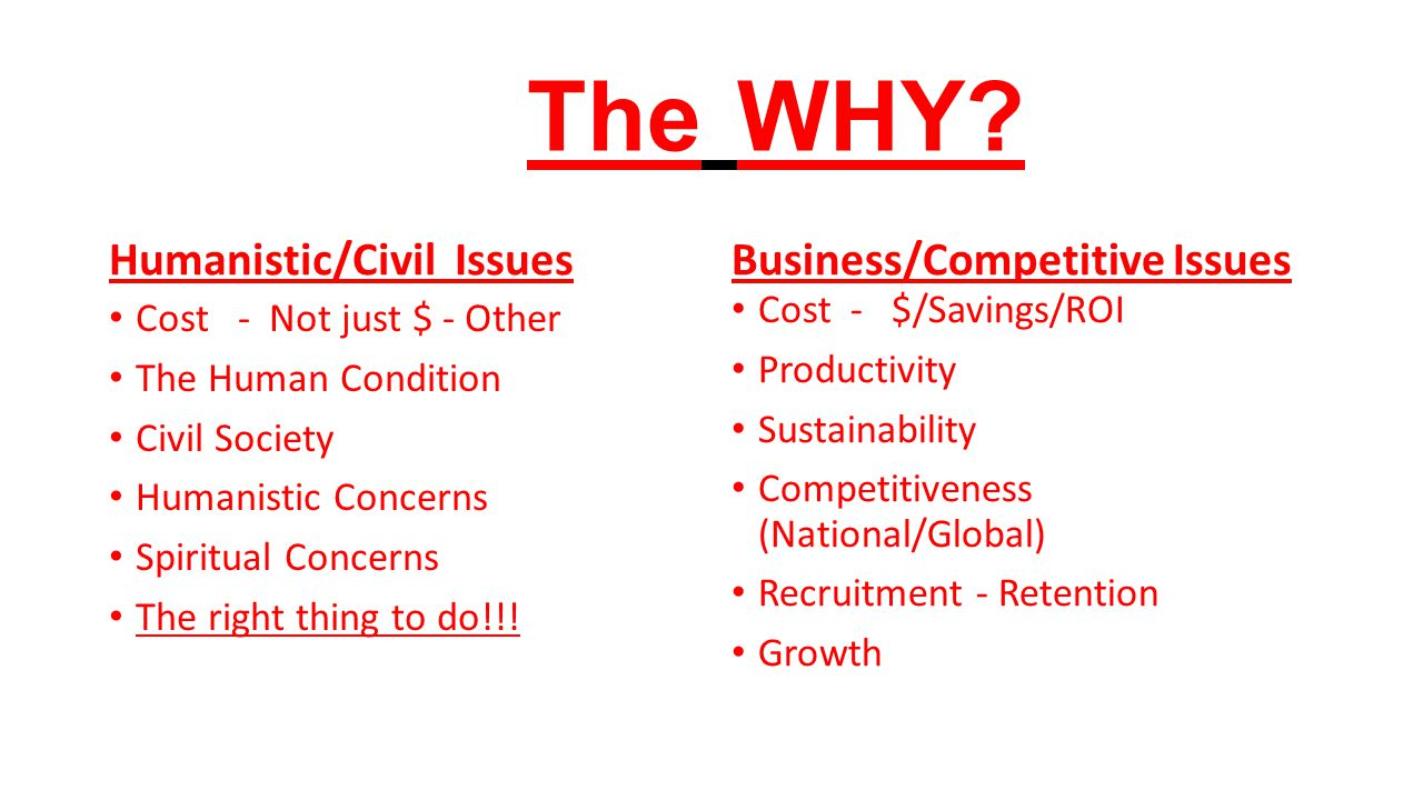 The WHY Humanistic/Civil Issues Business/Competitive Issues