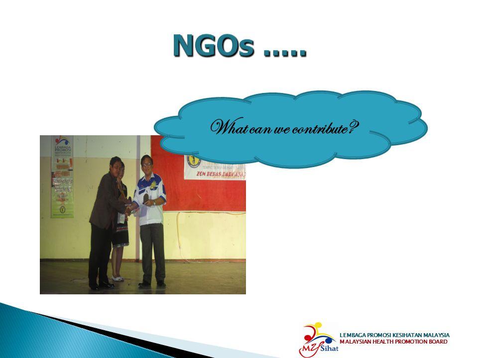 NGOs ..... What can we contribute LEMBAGA PROMOSI KESIHATAN MALAYSIA