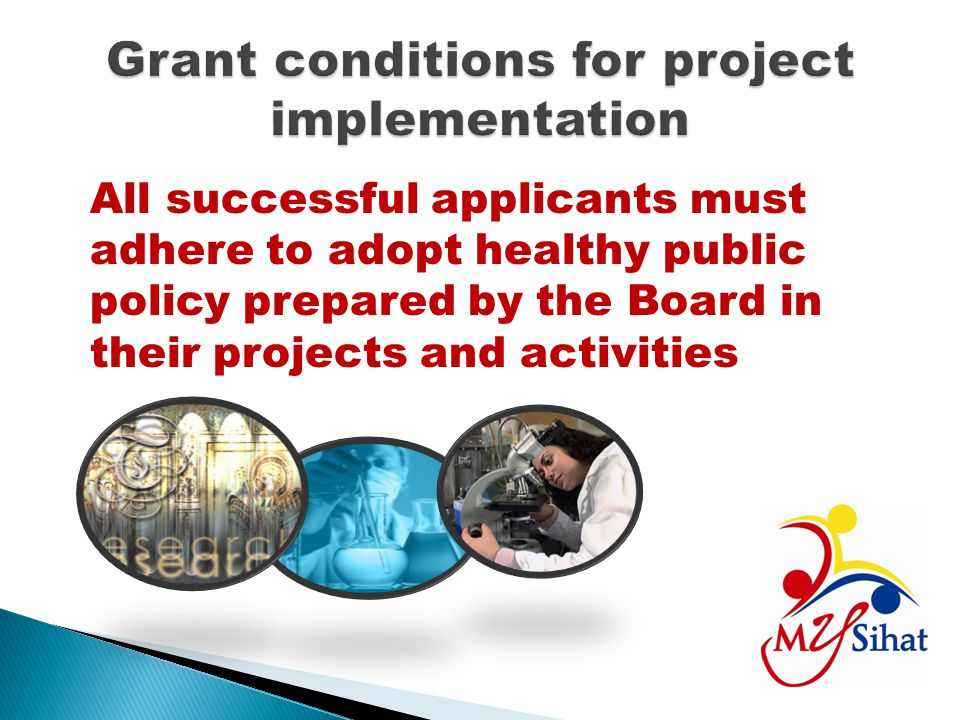 Grant conditions for project implementation