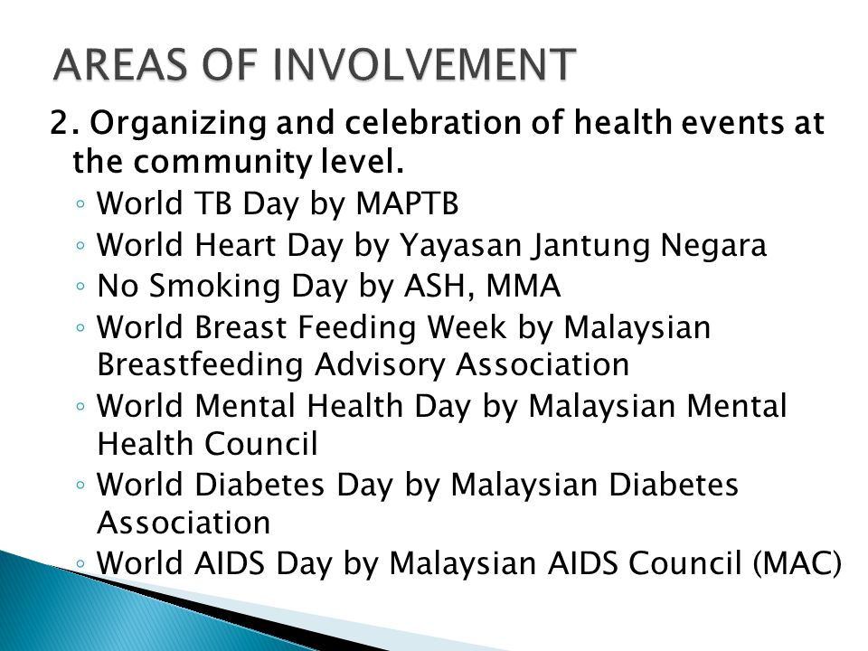 AREAS OF INVOLVEMENT 2. Organizing and celebration of health events at the community level. World TB Day by MAPTB.
