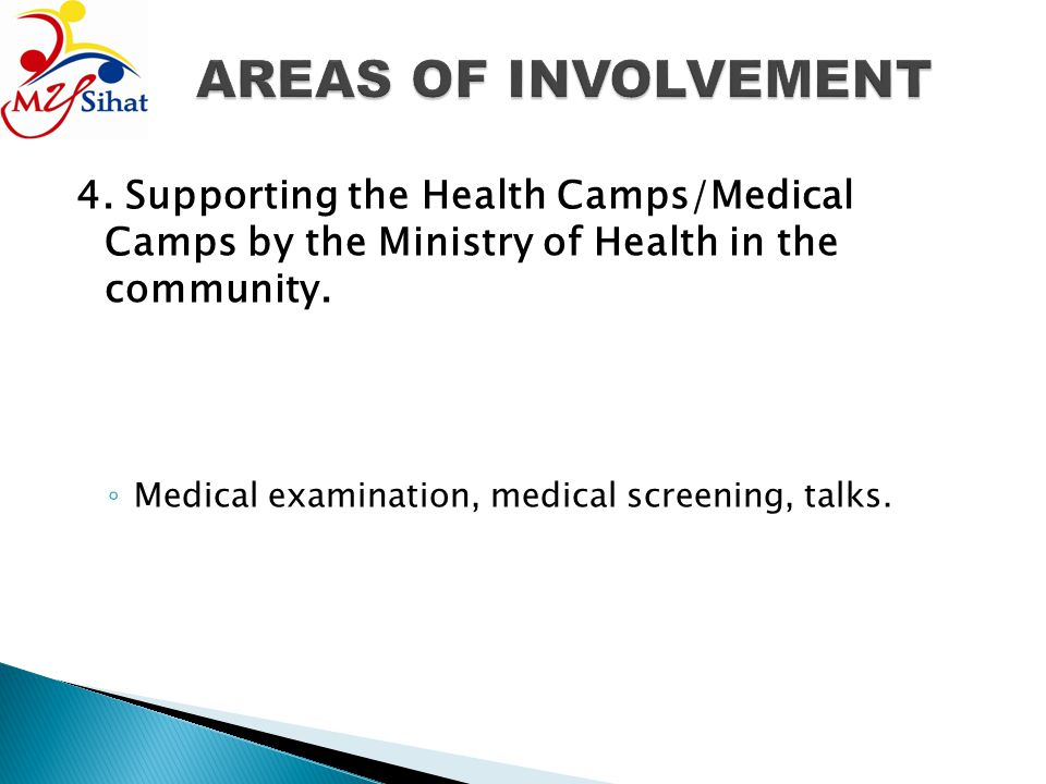 AREAS OF INVOLVEMENT 4. Supporting the Health Camps/Medical Camps by the Ministry of Health in the community.