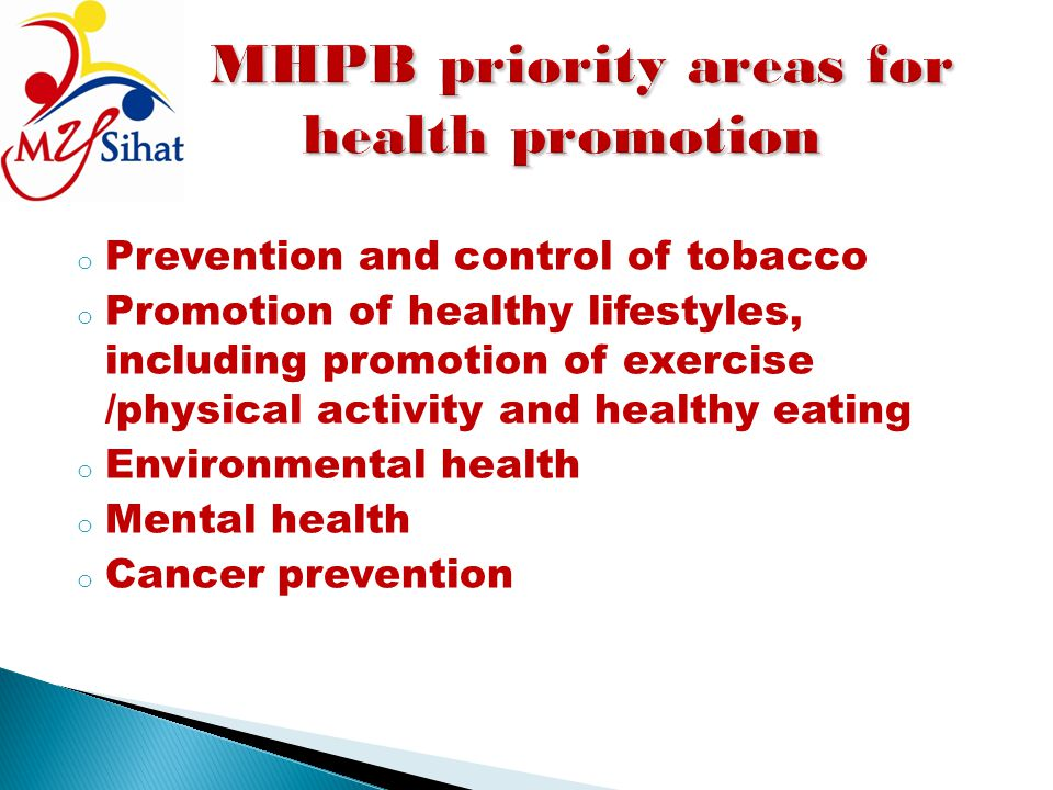 MHPB priority areas for health promotion
