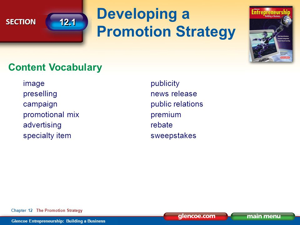 Content Vocabulary image preselling campaign promotional mix