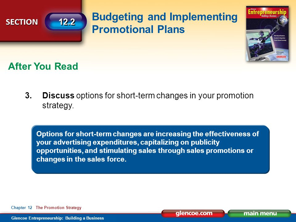After You Read 3. Discuss options for short-term changes in your promotion strategy.