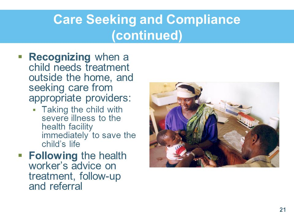 Care Seeking and Compliance (continued)