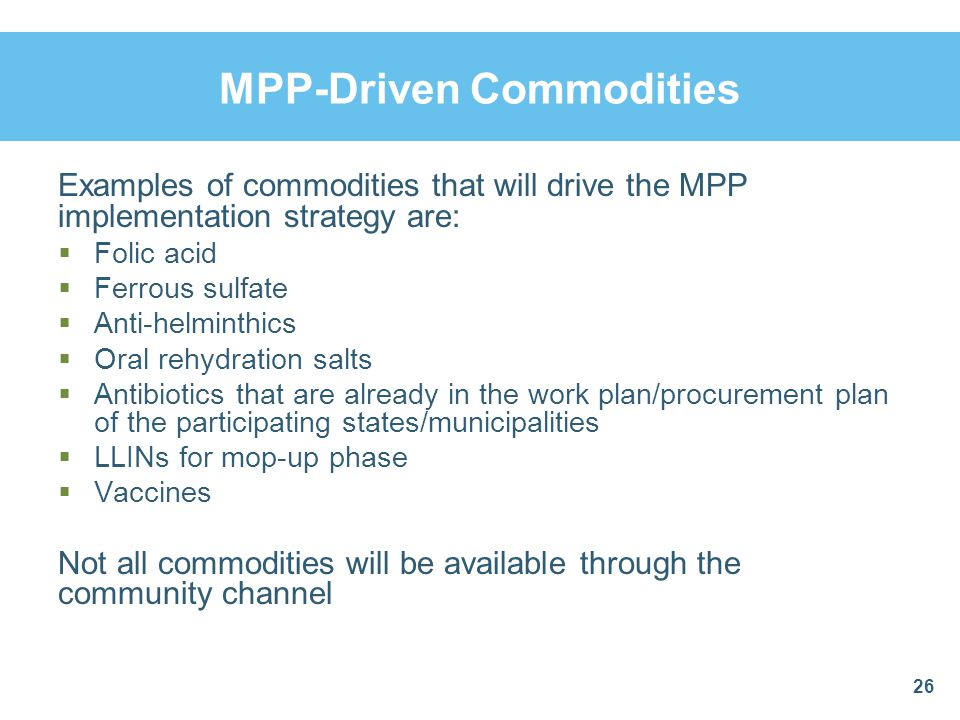 MPP-Driven Commodities